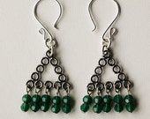Opal Green Swarovski Crystals Curtain with Sterling Silver Open Geometric Triangle Earrings, Custom Made Designer Jewelry