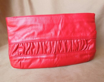 HOTNESS... Vintage 80's Red Clutch Bag, Bright Lipstick Red Leather, Pretty Gathered Detail