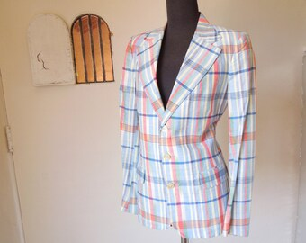 LAST CHANCE SALE Vintage 70's 80's Madras Blazer, Preppy Country Club Style with Plaid Print in Blue, Red, and White, Small