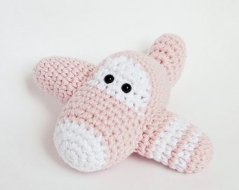 Amigurumi Crochet Airplane Baby Rattle Toy - organic cotton - baby pink and white