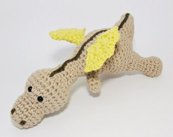 Baby dragon crochet baby rattle soft toy organic cotton - beige, yellow and brown - amigurumi dragon - baby gift - baby toy