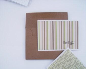 Thank You Cards - Modern Thank You Notes, Geometric Note Card Set, Pink Kiwi Green Mocha Brown Dots Stripes Circles Thank You Cards