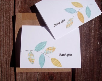 Thank You Cards - Leaf Thank You Notes, Yellow Blue Thank You Card Set Leaf Branches, Botanical Note Cards, Spring Summer Garden Leaves