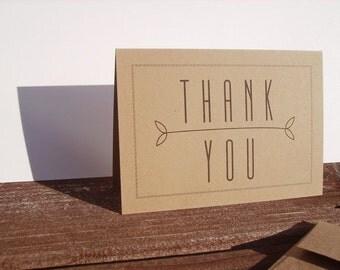 Modern Thank You Notes - Kraft Paper Stationery, Typography Thank You Card Set, Black Stripe Border, Leafy Neutral Contemporary Minimalist