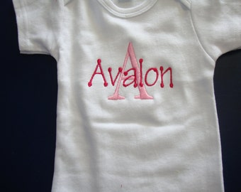 Onesie Personalized/Embroidered Monogrammed Baby Bodysuit