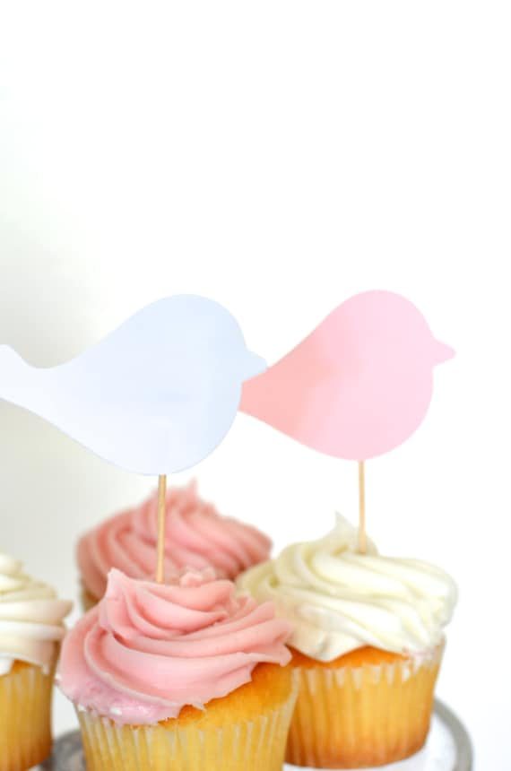 Pink and White Bird Cupcake Picks, custom colors available