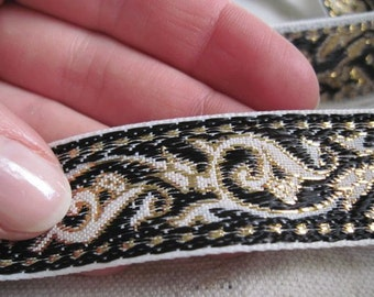 BLACK and Gold on White ENCHANTED SPIRIT jacquard woven ribbon