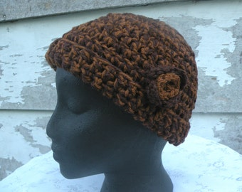 Hat, Crocheted, Dark Chocolate and Caramel Color With A Rosette On The Side