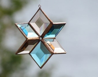 3D Glass Star Suncatcher, Turquoise and Peach Champagne Copper