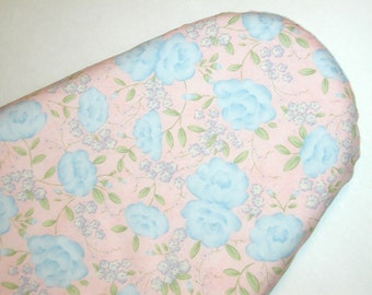Standard Ironing Board Cover - Blue Flowers - Light Pink - Laundry Room - Sewing - Craftroom - Cover for Iron Board