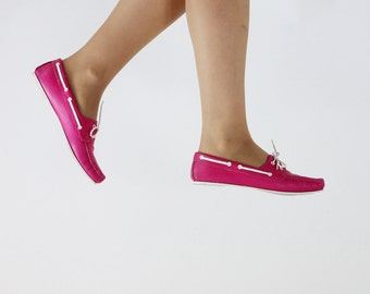 SALE - Vintage 1980s Leather Hot Pink Fuchsia Topsiders