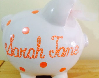 Personalized Large Orange Polka dots Piggy Bank-Newborns , Boys , Girls , Ring bearer, Flower Girl,Baby Shower Gift Centerpiece