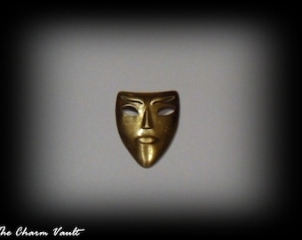 3 Mask  Raw Brass Charms Jewelry Findings Stamping Embellishment  (A-124)