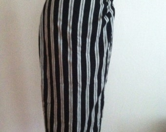 Oyster and Black Stripe Silk MM by KRIZIA Vintage Wrap Skirt 10