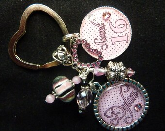 PERSONALIZED Pink Polka Dot Hearts Double Bezel  Keychain/Pendant Necklace/Zipper Pull/Charm