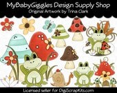 Toadstool Frogs Clip Art Digital Graphics Scrapbook Card Making Supply INSTANT Download