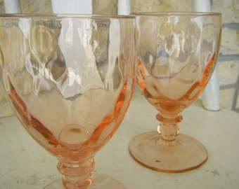 Peachy Depression Glass Goblets