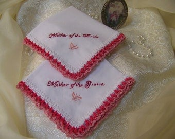 Mother of the Bride, Mother of the Groom,  Handkerchief, Hanky, Hand Crochet, Personalized, Custom Embroidered, Ready to ship, Lace, Lacy