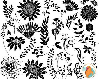Bohemian Wild Flower Digital Stamps, Foliage & Hand Drawn Flower Outlines and Silhouette Images, Floral PNG + Photoshop Brush