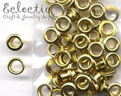 30 Gold Brass Tone 2-PART METAL EYELETS Grommets Fit 4.8mm Hole 3/16 in. Shiny