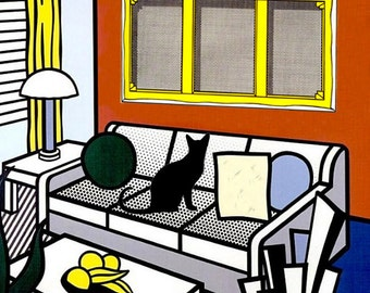 Roy Lichtenstein Black Cat Art Print, Whimsical Art, Pop Art Print, Parody, Cat Lover Gift, Deborah Julian