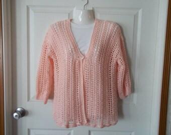 Crocheted Blush Sweater size Medium