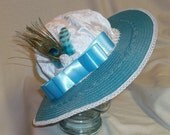 Blue and White Edwardian Picture Hat- Downton Abbey, Titanic, Ascot, Kentucky Derby Style