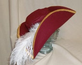 Captain Hook Hat- Red Hat- Classic Pirate Hat with Gold Trim and White Feathers