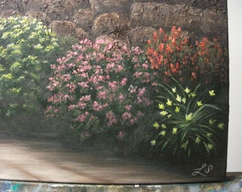 Flowering Bushes and Stone Wall On Garden Path, Spring, Summer, Landscape Oil Painting