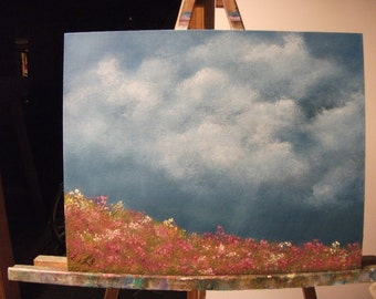 Spring Storm Over A Field Of Flowers, Clouds, Rain, Summer,  Original Landscape Oil Painting
