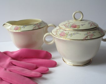 Cream and Sugar Set Paden City Pink Floral  - Vintage Mid Century Chic