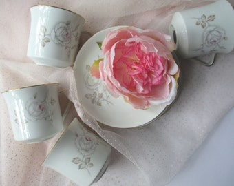 Vintage Teacups and Saucers Johann Haviland Sweetheart Rose Set of Four