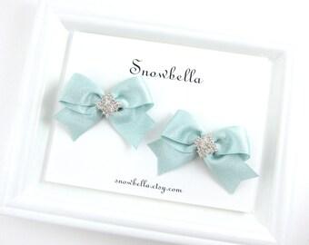 Aqua Blue Hair Bow Clips Pigtail Pairs Sparkle Satin Bows