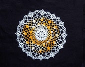 Golden Yellow Crochet Lace Doily, Table Topper, Acorn Design, New Home Decor