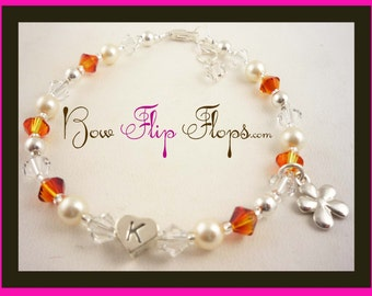 Flower Girl Bracelet with crystals and charm- sterling silver & swarovski