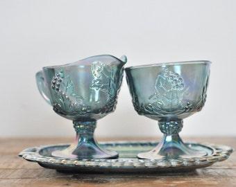 Vintage Blue Iridescent Glass Cream and Sugar Set Serving Display