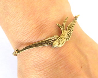 Steampunk Sparrow Bracelet or Anklet- Antiqued Brass Ox Finish
