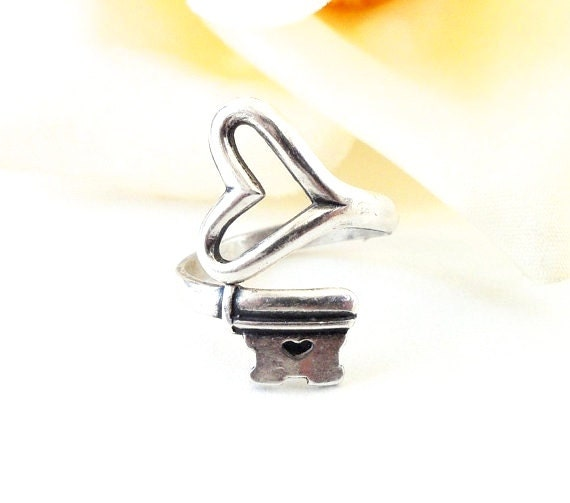 Key To My Heart Ring- Steampunk Heart Key Ring- Adjustable Ring- Sterling Silver Ox Finish