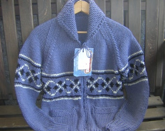 Hand Knitted Unisex Shawl Collar Zipper Cowichan Canadian Cardigan Sweater