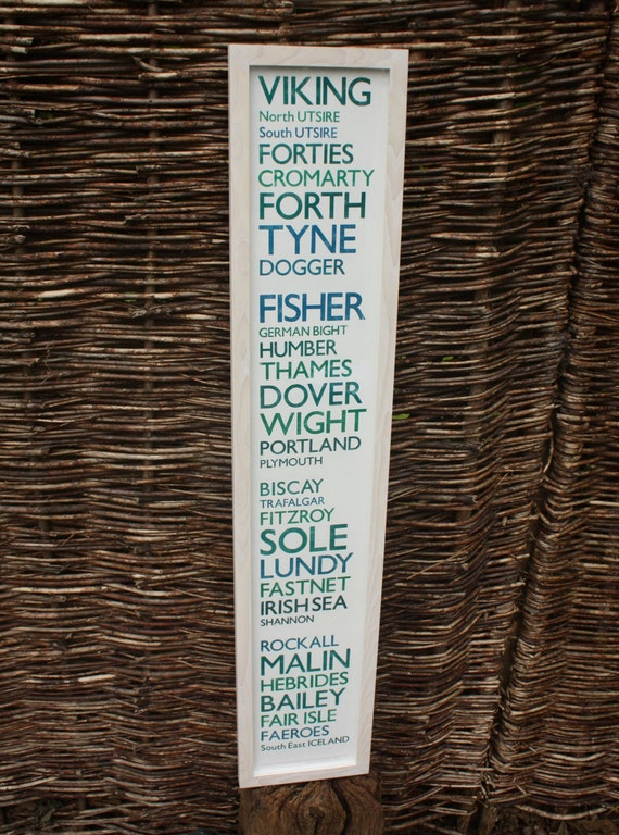 """Shipping Forecast """"Moderate or Good"""" Repro Letterpress print 100cm"""