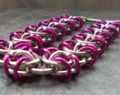Purple Bracelet Chainmaille Chain Maille Bracelet Silver Fuchsia Colored Violet Celtic