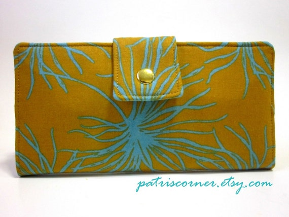 Handmade wallet mustard yellow with turqouise web ID clear pocket - Ready to Ship