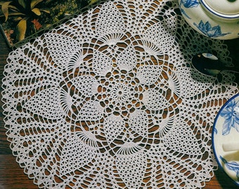 Crocheted Doily - Tea Time free shipping