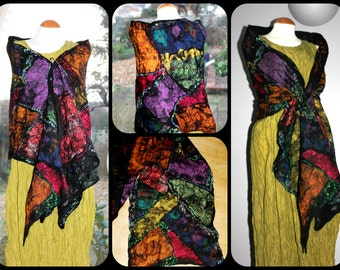 """Black nuno felted shawl  """"Stained Glass"""" blue red orange green - wool & silk - Made To Order - wrap scarf -  lagenlook artsy OOAK"""