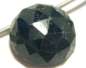 Blue Sapphire Bead Cabochon Domed Hand Faceted Round 15mm Natural Gemstone Bead - Perfect For PMC - One Bead