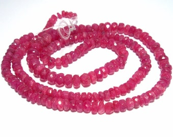 Ruby Beads 3mm Hand Faceted Whole Strand 14.5 Inches One of a Kind Perfect Ready for Stringing in ti your own creation Necklace