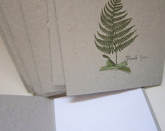 Fern Thank You Card Set - Set of 5 Folded Cards with handmade envelope - Homemade and Recycled Envelope and Card - Custom Print -