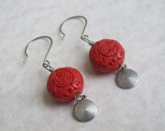 Modern Asia-Red Cinnabar and Silver Charm Earring