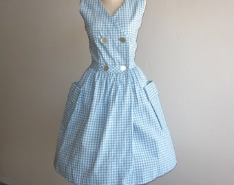 Vintage 50s Blue Cotton Gingham Full Skirt Rockabilly Sundress Afternoon Picnic Dress
