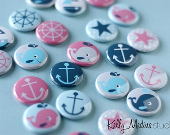 Nautical 1 inch Magnets or Pins - Set of 22 - Blue and Pink Whale Anchor Star Boat - Designs By Kelly Medina Studios